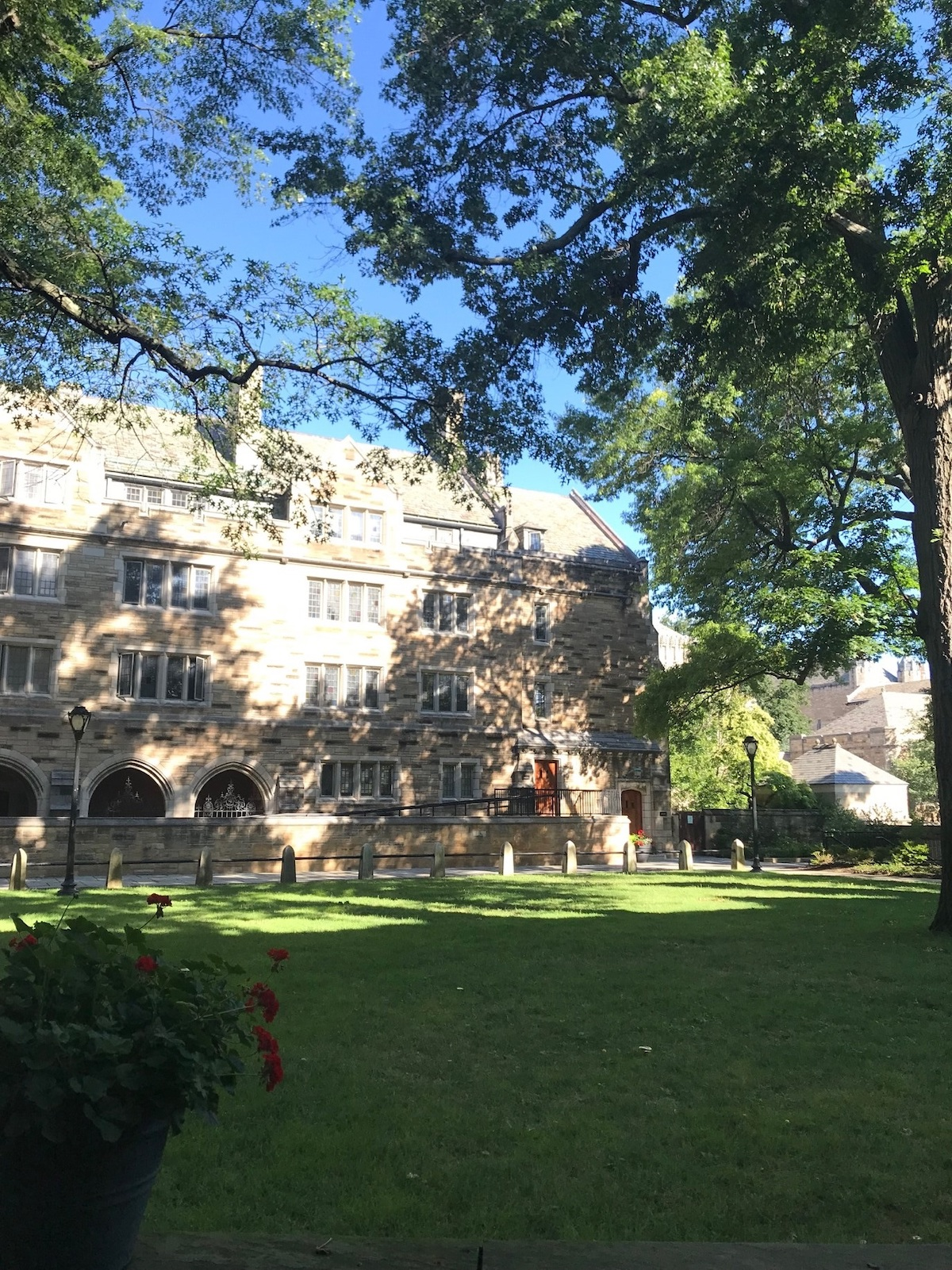 The courtyard of the dorms at Berkeley College - it even has a basement basketball court!