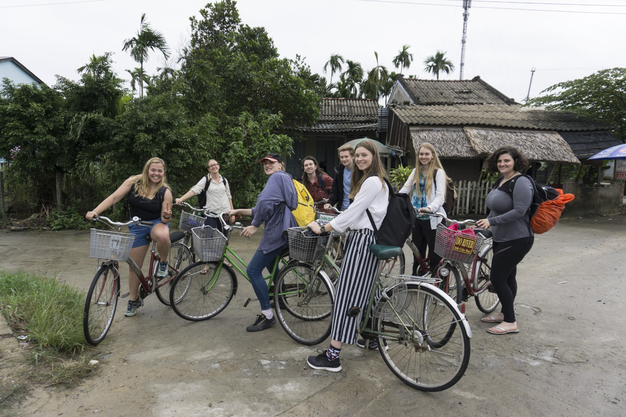 Science students riding bicycles overseas