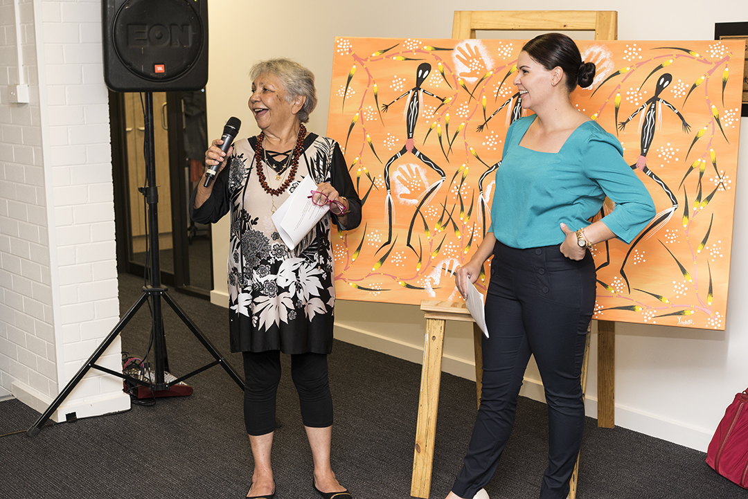Aunty Matilda House and Sarah Richards with 'Mimi Spirit Dreaming' by Gregory Joseph.