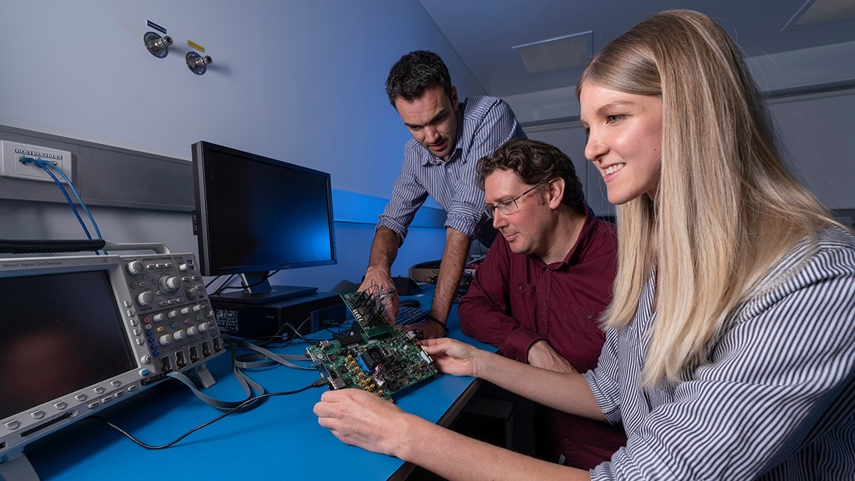 Lead Engineer Dr James Gilbert, Professor Rob Sharp and Instrumentation Engineer Shanae King, From the ANU Research School of Astronomy and Astrophysics. Image: Lannon Harley