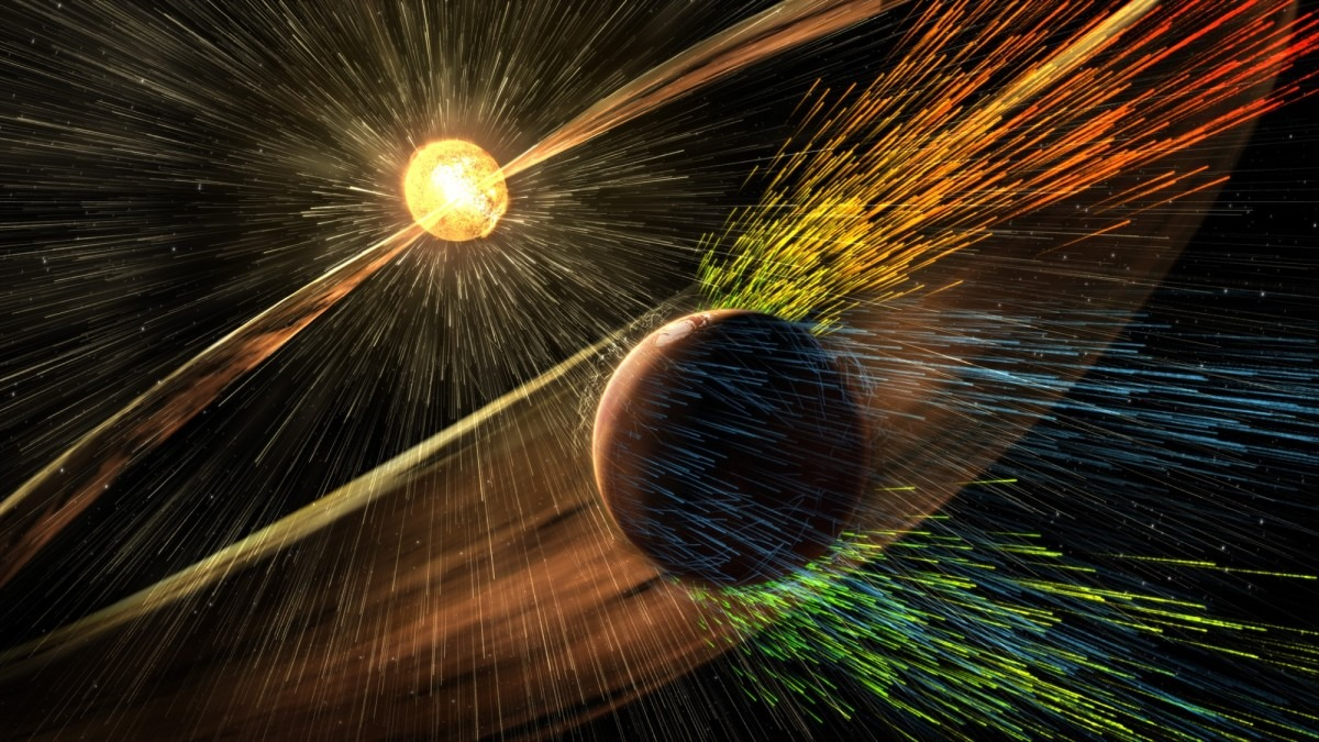 Scientific visualisation of Mars being blasted by solar radiation