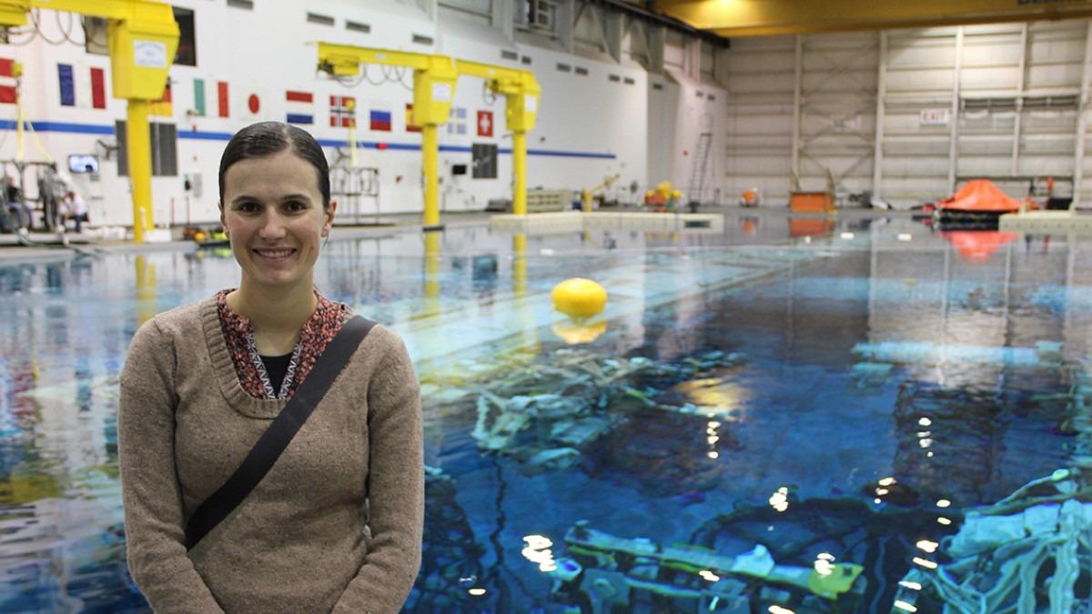 Dr Emma Tucker at the NASA Neutral Buoyancy Laboratory