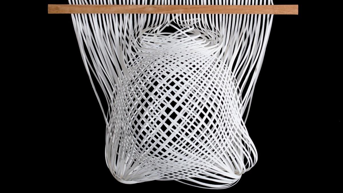 Weaved paper sculpture.