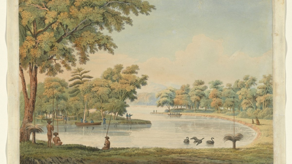 1829 painting of Swan River, showing European settlers and First Nation people amongst a lush green landscape with swans.