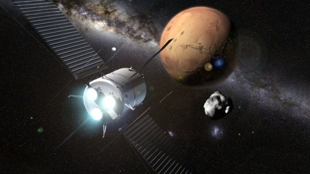 Artist impression of spacecraft with thrusters moving towards Mars with Milky Way stars in background.