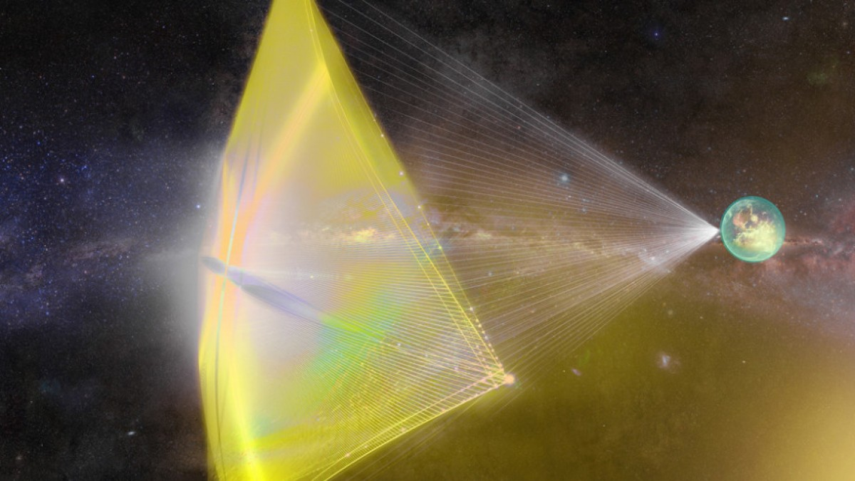 Artist interpretation of laser light sail. Image shows space with lasers from Earth casting a large sail.