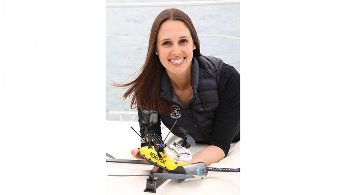 Vanessa PIrotta with a waterproof drone