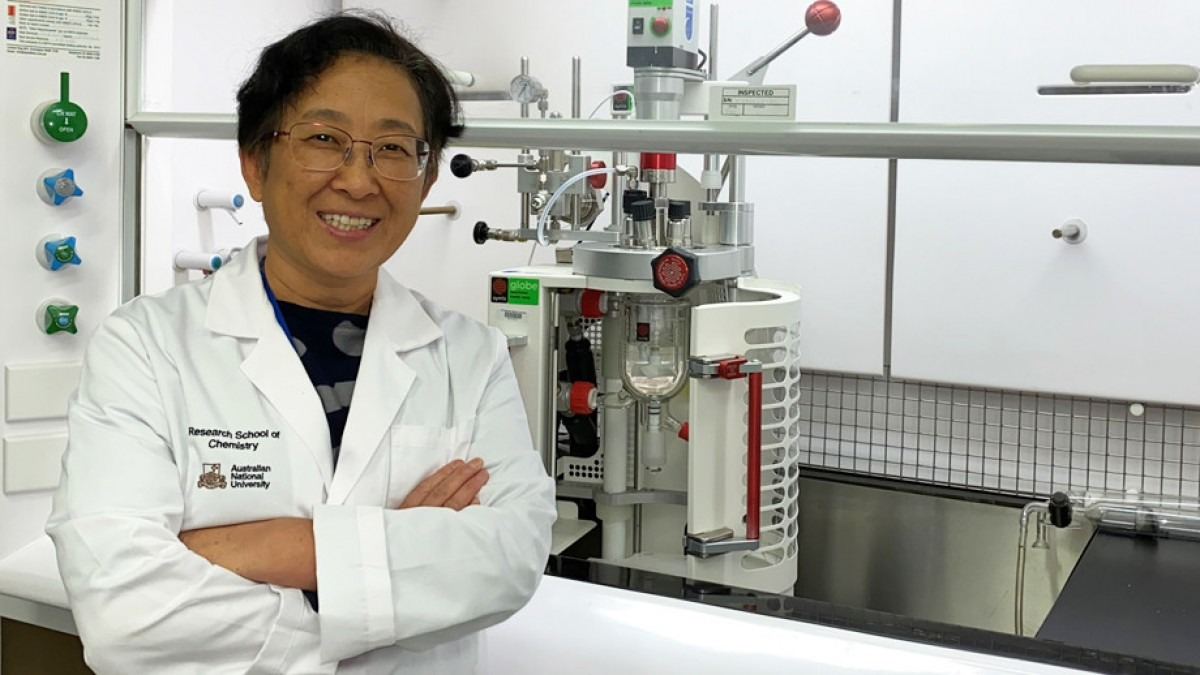 Professor Yun Liu in chemistry laboratory.