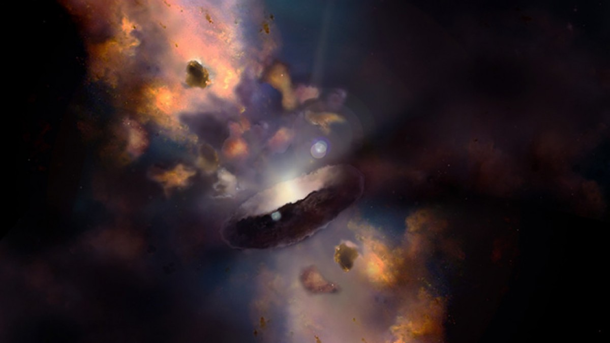 "Illustration of a quasar surrounded by a dusty donut shape (torus) and clumps called ""clouds""."
