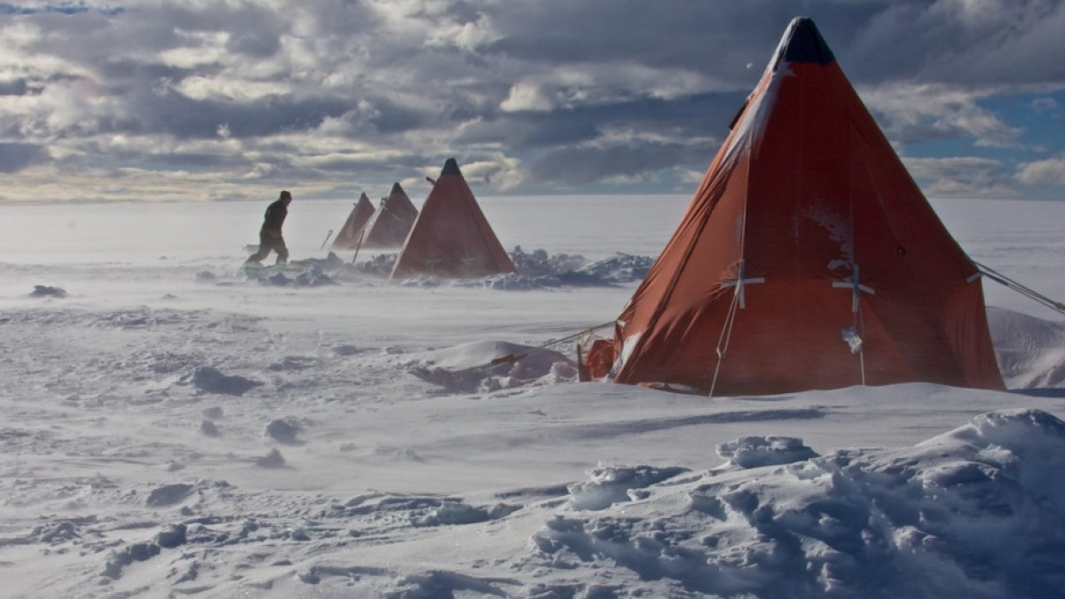 Tents pitched in Antarctica