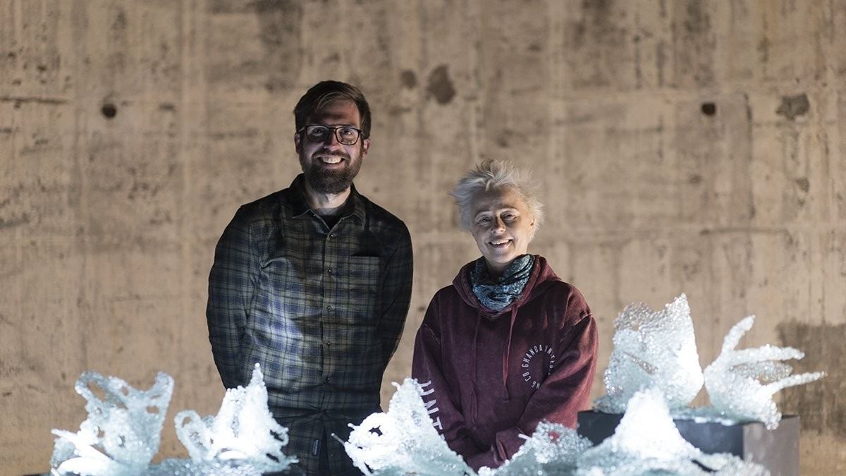Dr Alexander Hunter of the Music School and artist Ngaio Fitzpatrick of the Climate Change Insitute