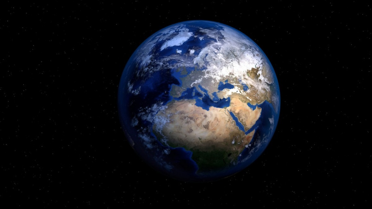 Earth from space, showing Africa and Europe.