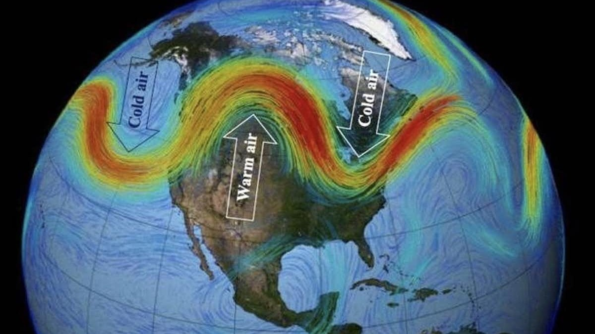 A diagram showing the weakening Arctic jet stream, and subsequent movements of warm and cold air. NASA