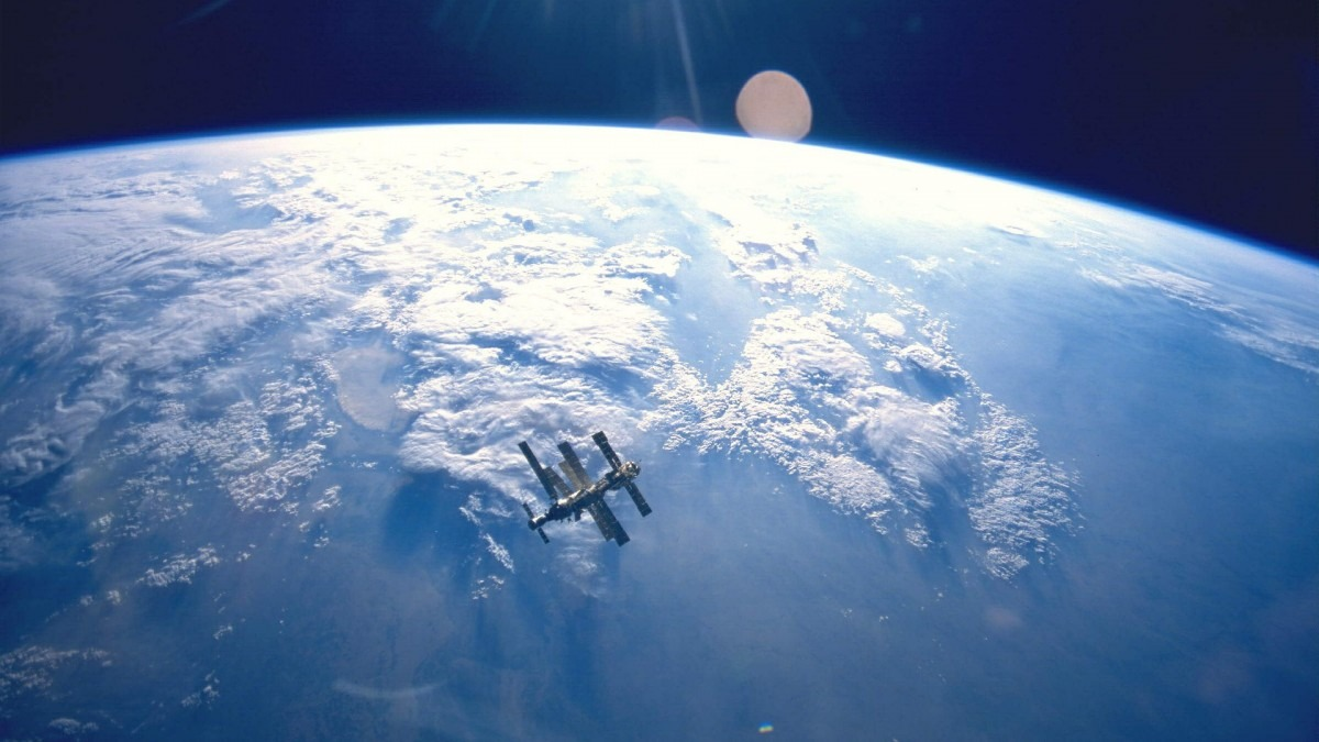 The Mir space station orbiting Earth